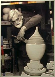 [ George Scatchard working on modern ceramic lamp ]